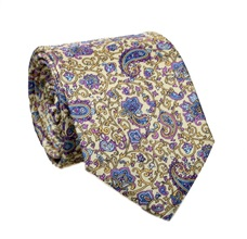 Yellow Paisely Silk Tie and Pocket Square