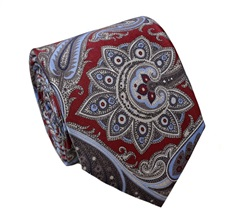 Burgundy Paisley Silk Tie and Pocket Square