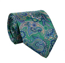 Green Paisley Silk Tie and Pocket Square