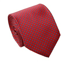 Red and Blue Silk Tie and Pocket Square