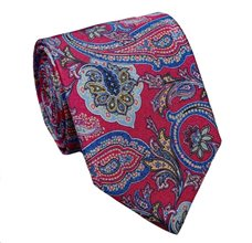 Fucsia Paisley Natural Silk Tie and Pocket Square