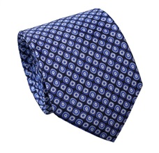 Blue Pattern Silk Tie and Pocket Square