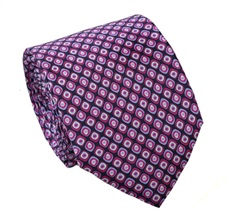 Magenta Pattern Silk Tie and Pocket Square