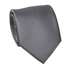 Grey and Black Natural Silk Tie and Pocket Square