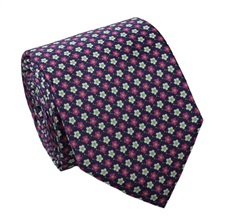 Magenta Flowers Silk Tie and Pocket Square