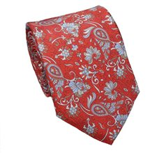 Red Brick Paisley Natural Silk Tie and Pocket Square