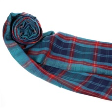 Turquoise and Red Tartan Foulard