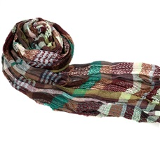 Brown, Green and Garnet Checked Foulard