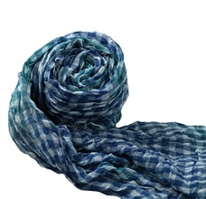 Blue and Green Checked Foulard