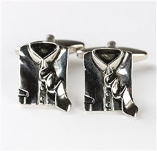 Shirt and Tie Metal Cufflinks