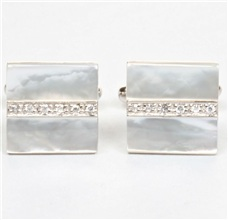 Mother-of-Pearl and Silver Cufflinks