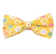 Yellow Bow Tie with Flowers