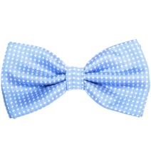 Sky Blue Bow Tie with White Dots