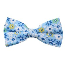 Sky Blue Bow Tie with Flowers