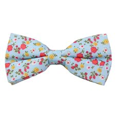 Sky Blue Bow Tie with Red Flowers