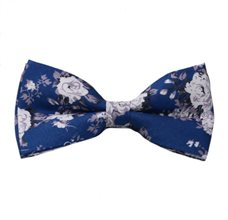Blue Bow Tie with White Flowers