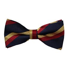 Blue Bow Tie with Red and Yellow Stripes