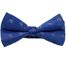 Royal Blue Bow Tie with Red Bicycles