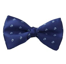 Dark Blue Bow Tie with Sky Blue Skulls