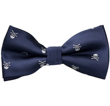 Dark Blue Bow Tie with Skulls