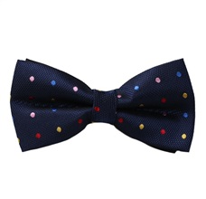 Dark Blue Bow Tie with Multicolor Dots