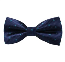 Navy Blue Bow Tie with Turquoise Dots