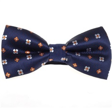 Dark Blue Bow Tie with Orange Daisies