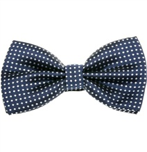Deep Blue Bow Tie with White Dots