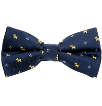 Deep Blue Bow Tie with Yellow Schnauzer