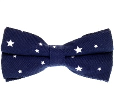 Dark Blue Bow Tie with White Stars