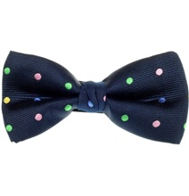 Blue Bow Tie with Multicolor Dots