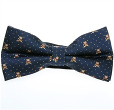 Blue Bow Tie with Beige Bears and Dots