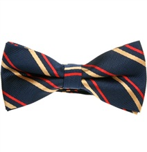 Blue Bow Tie with Red and Golden Stripes