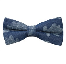 Blue Jeans Bow Tie with Tree Leaf