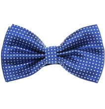 Royal Blue Bow Tie with White Dots