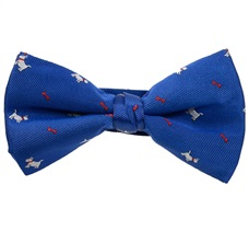 Royal Blue Bow Tie with White Schnauzer