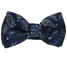 Dark Blue Baby's Bow Tie with Paisley