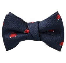 Dark Blue Baby's Bow Tie with Red Cars