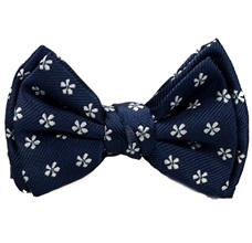 Dark Blue Baby's Bow Tie with Daisies