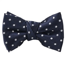 Dark Blue Baby's Bow Tie with White Dots