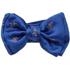 Royal Blue Baby's Bow Tie with Red Bikes and Dogs