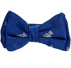 Royal Blue Baby's Bow Tie with White Teddy Bears