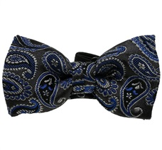 Dark Grey Baby's Bow Tie with Paisley