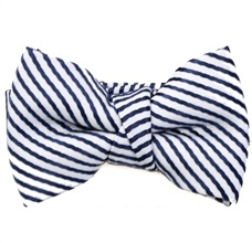 Dark Blue and White Stripes Baby's Bow Tie
