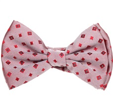 Garnet Seda Baby's Bow Tie with Squares