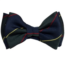 Silk Baby's Bow Tie Dark Blue and Green Stripes