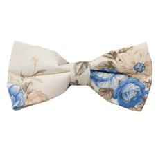 Beige Bow Tie with Blue Flowers