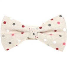 Beige Mat Bow Tie with Grey and Garnet Dots