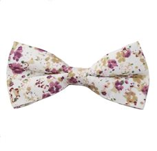 Beige Bow Tie with Lilac Flowers