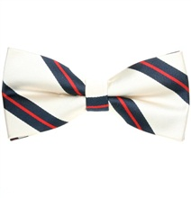 Light Beige Bow Tie with Blue and Red Stripes
